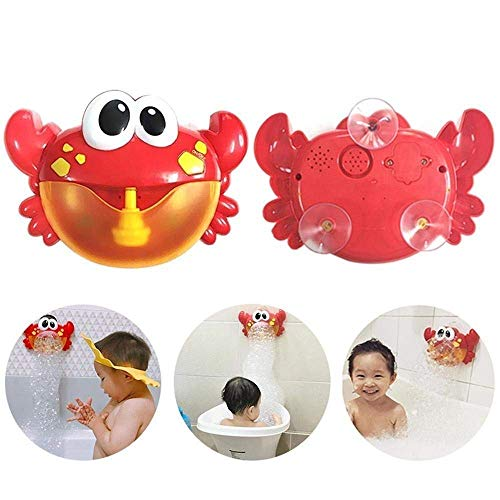 Big Crab Bubble Maker,Vanvler Bubble Machine for Kids Baby Automatic Bubble Blower Toy 24 Music Song Bath Toy (Red)