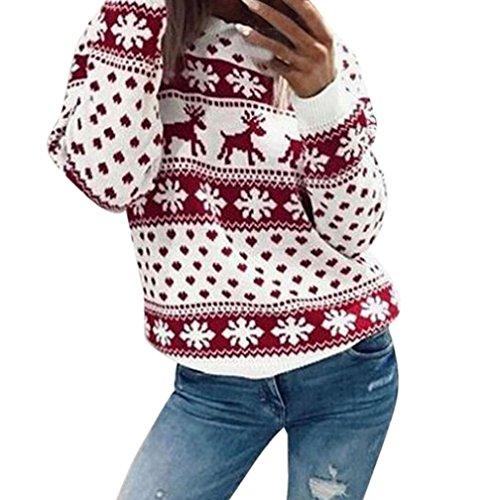 IEason Women Top, Women Xmas Christmas Floral Print Long Sleeve Blouse Top Sweatshirt (Red, XL)