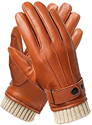 Mens Leather Gloves, Full-hand Touchscreen Gifts Boxes Driving Texting Winter Gloves