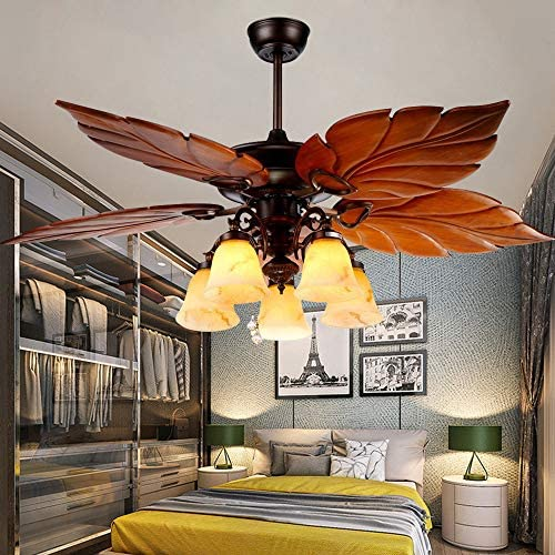 52 Inch Tropical Ceiling Fan Light Wooden Palm Leaf Blades Fan Light, Indoor Quiet Ceiling Fan Chandelier, Home Remote Rustic Ceiling Fan, Bronze