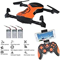 Quadcopter drone, Kingtoys Foldable RC Drone with APP Voice Control Flight Aerial Control, 1M HD Wi-Fi Camera ,One Key Return 2.4G 6-Axis Gyro Helicopter + 3pcs 600mAh Batteries