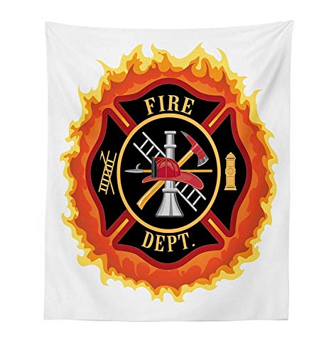 Abstract Quilt Fabric - Fireman Tapestry Fire Department Icon with Ladder Public Service Essential Tools of Firefighters Fabric Wall Hanging Decor for Bedroom Living Room Dorm,59.67