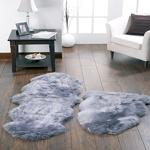 HUAHOO Genuine Sheepskin Rug Real Sheepskin Blanket Natural Fur Single 2ft x 3ft, Silver Grey