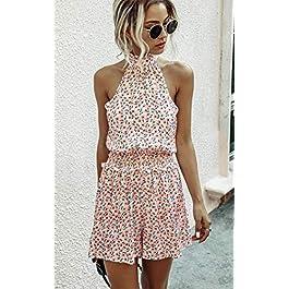 Angashion Women's Rompers – Summer Floral Ruffle Halter Neck Sleeveless Elastic Waist Romper Shorts Jumpsuit