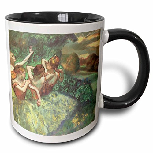 3dRose 127013_4 Four Dancers by Edgar Degas Mug, 11 oz, Black