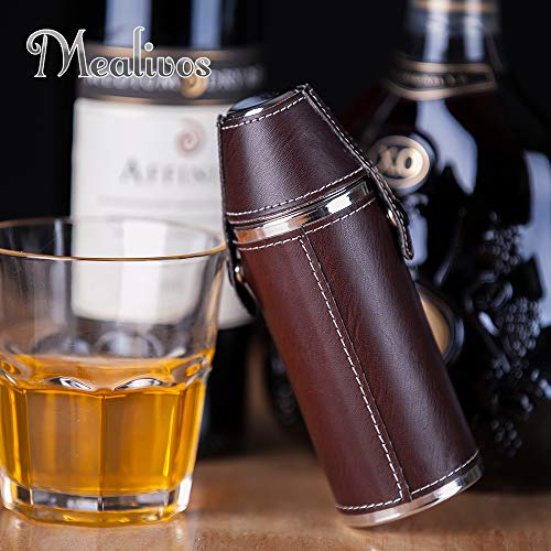 Leather Round Flask - Mealivos 6oz Stainless Steel Hip Flask (round)
