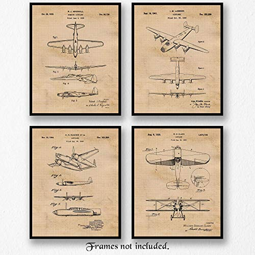 Original Bomber Airplanes Patent Art Poster Prints- Set of 4 (Four 8x10) Unframed Photos- Great Wall Art Decor Gifts Under $20 for Home, Office, Garage, Man Cave, Student, Teacher, Military Veterans