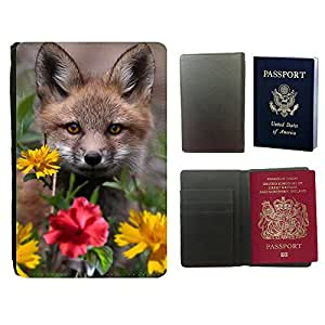 Super Stella PU Leather Travel Passport Wallet Case Cover // M99999985 Fox Animal Pattern // Universal passport leather cover