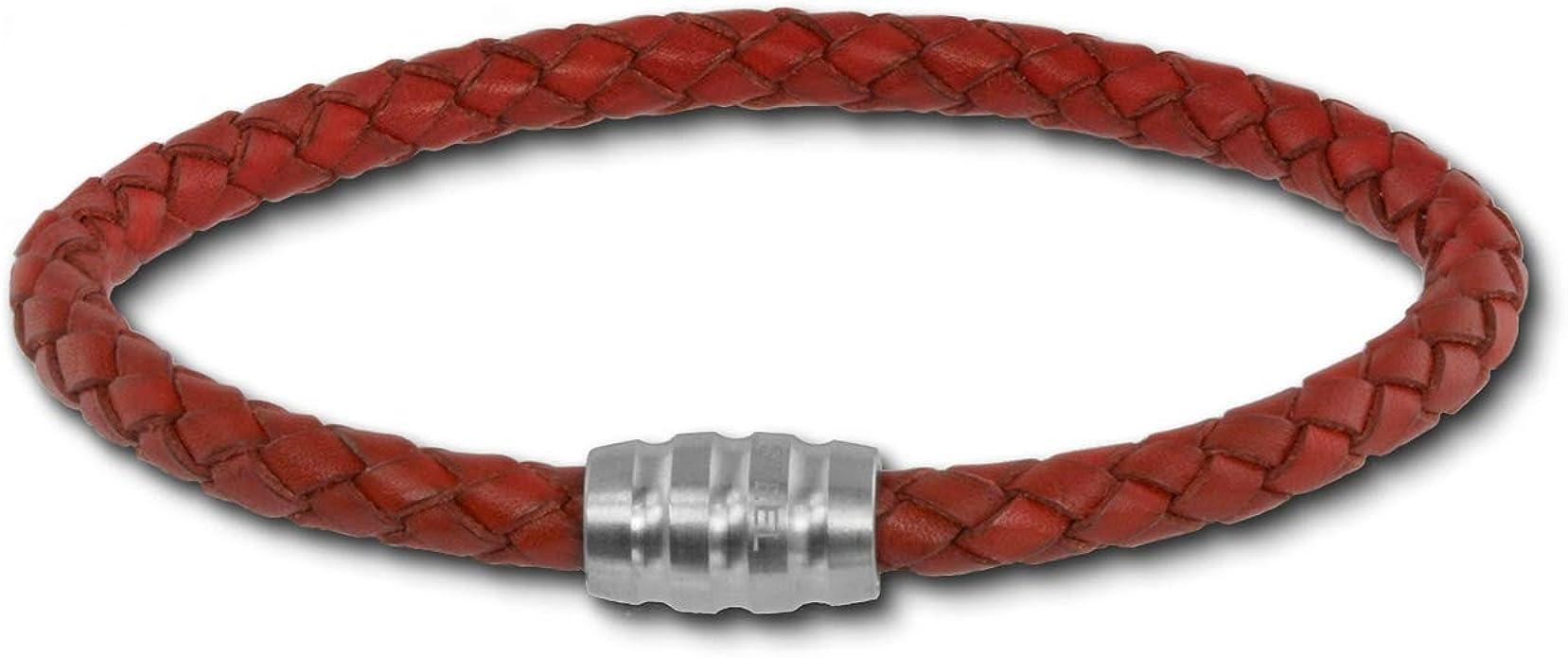 SilberDream pulsera oxidado de piel de color con cierre de acero inoxidable 18 cm, longitud:-Pulsera para mujeres y hombres-LAB0518: SilberDream: Amazon.es: Joyería