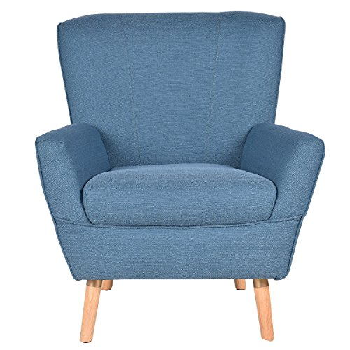 AK Energy Blue Accent Leisure Arm Chair Single Sofa Wooden Legs Upholstered Living Room Furniture Deep Seat