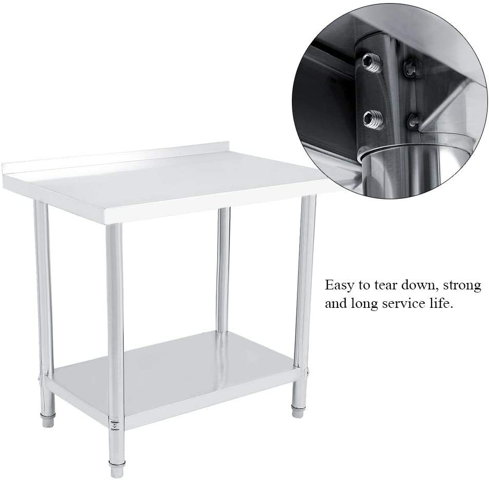 for kitchen supplies and industrial operations 91X61X85CM double layer kitchen catering in stainless steel Professional kitchen work table with stand adjustable height
