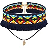 Stylish Women Charm Bohemian Style Necklace Knitted Flower Choker Leaf Pendant WelcomeShop