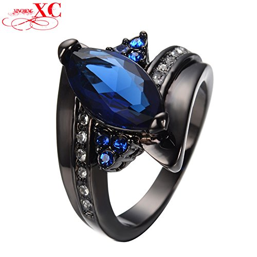 AYT Blue Sapphire Horse Eye Ring Black Gold Filled Men Antique Ring Wedding Party Christmas Gift Anel Feminino 9.0