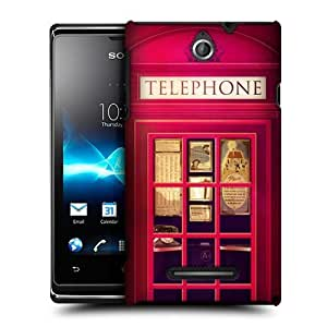 Red London Telephone Box Kiosk Booth Case For Sony Xperia E Dual C1605