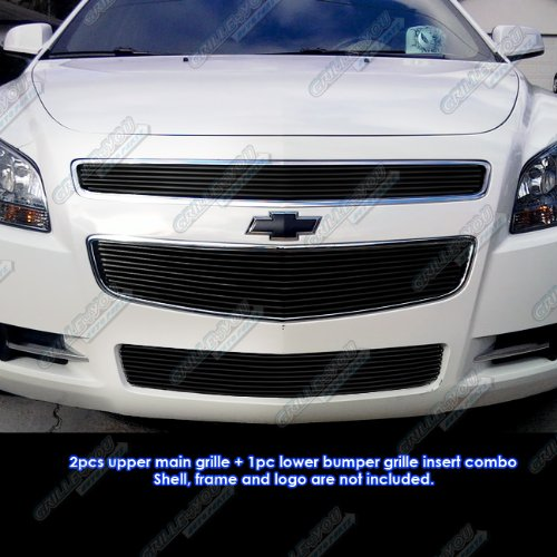 APS Fits 08-12 2012 Chevy Malibu Black Billet Grille Grill Combo Insert #N19-H51016C