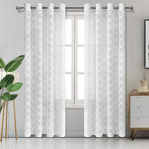 (DWCN Pom Pom Curtains White Semi Sheer Curtains for Bedroom Faux Linen Moroccan Window Curtain Panels Diamond Pattern Long Curtains Grommet Voile Sheer Panels 54 x 95 inches Long, Set of 2)