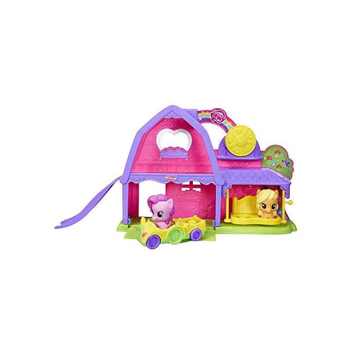 51dnpOwksrL El tamaño de los ponis y cochecito tiene el tamaño adecuado para las manos de los más pequeños En el coche caben dos ponis Funciona con otros sets de la línea de Playskool My Little Pony