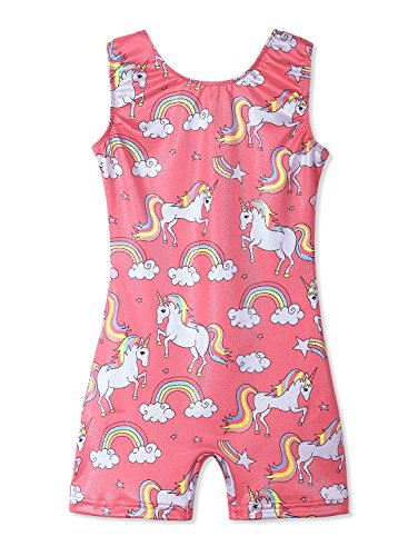 Leotards for Girls Gymnastics Unicorn Sparkly Pink Biketards Stars Rainbow Clouds