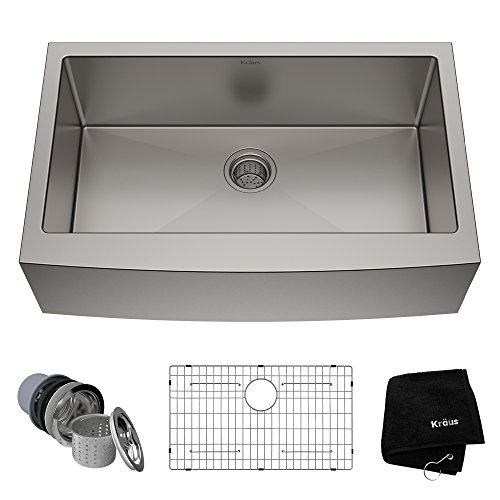 (Kraus KHF200-33 33-inch Farmhouse Apron Single Bowl 16-gauge Stainless Steel Kitchen Sink)