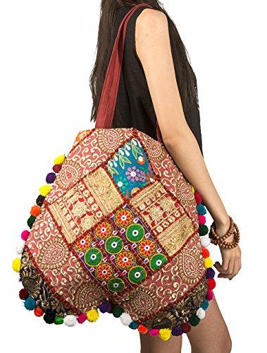 TribeAzure Gold Beaded Embroidered Handmade Shoulder Tote Bag Boho Handbag Comfortable Pom Tassel Tribal