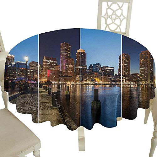 (round outdoor round tablecloth with 36 Inch American,Boston Skyline Day and Night Cityscape Skyscraper Reflection in Water Metropolis,Multicolor Suitable for Party,outdoors,Farmhouse,coffee shop,resta)