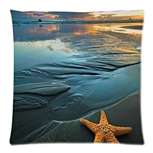 Starfish On The Deep Bule Navy Beach Sunset Custom Cotton & Polyester Soft Square Zippered Cushion Throw Case Pillow Case Cover 18X18 (Twin Sides)