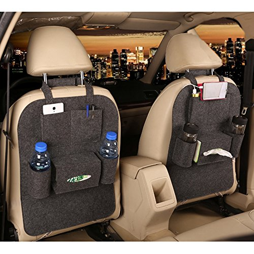 M'Baby 1pc Seat Back Car Organizer Woolen Felt Seat Back Kick Protectors for Kids, Storage Bottles, Tissue Box, Toys (Dark Grey)