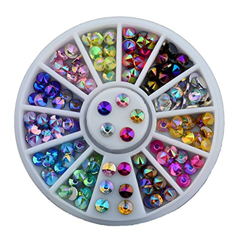 Lookathot 12pcs/disc Nail Art Stickers Decals Semi-circle Pointed Style Colorful Pearl Metallic Studs Rhinestones Manicure DIY Decoration Tools