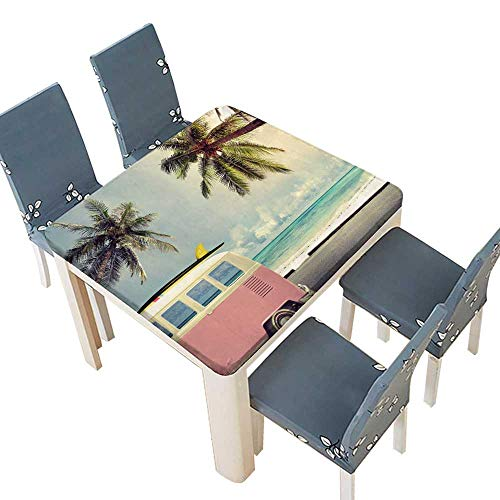 Roof Cut Laser (PINAFORE Spillproof Fabric Tablecloth Vintage car in The Beach with a Surfboard on The roof Washable for Tablecloth 45 x 45 INCH (Elastic Edge))