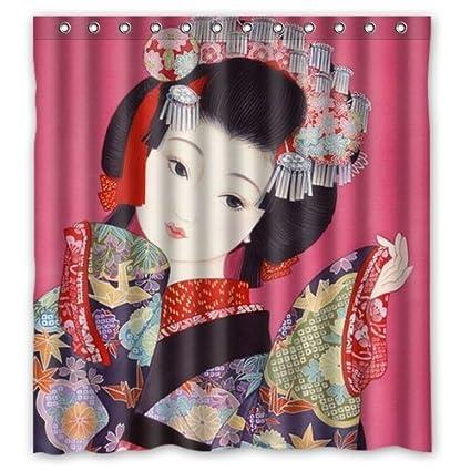 Amazon Hot Sale Japanese Geisha Girl Waterproof Fabric Bathroom