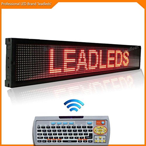Leadleds 40x6.3 Inches Remote LED Scrolling Display Board for Business - Red Message