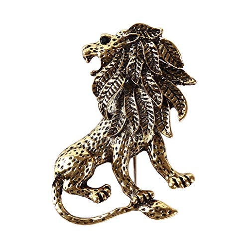 HAOWANG Retro Fashion Men's Suit Domineering Alloy Lion Brooch Lapel Hijab Pins Brooch Gold