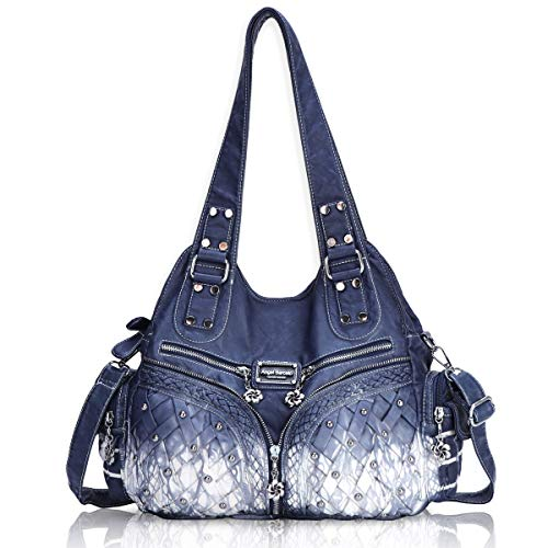 (Angel Barcelo Roomy Fashion Hobo Womens Handbags Ladies Purse Satchel Shoulder Bags Tote Washed Leather Bag Blue)