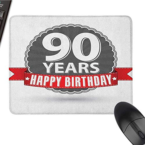 Office Mouse Pad 90th Birthday,Retro Style Label with