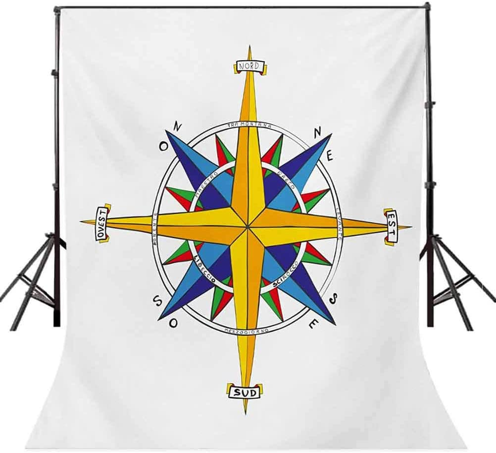 Compass 10x15 FT Backdrop Photographers,Colorful Vivid Design Windrose Marine Life Theme Sailing Journey Directions Background for Baby Shower Bridal Wedding Studio Photography Pictures