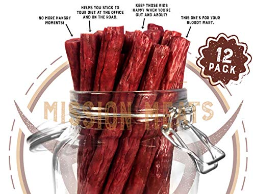 (Keto Sugar Free Grass-Fed Beef Snacks Sticks Non-GMO Gluten Free MSG Free Nitrate Nitrite Free Paleo Healthy Natural Meat Sticks)