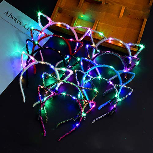Glumes LED Cat Ear Headband, 1 PCS Light Up Rabbit Ears Headband Cute Hairbands for Girls Adult Halloween Christmas Party Decorations Hair Accessories]()