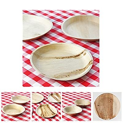 Efavormart 100 Pcs Round Eco-Friendly Palm Leaf Disposable Plates