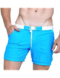a9481a4c9f Men Swimwear Solid Basic Long Swim Boxer Trunks Board Shorts Swimsuits