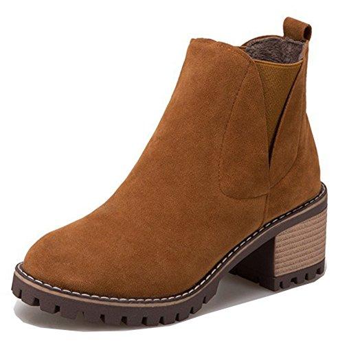 Aisun Kvinners Tilfeldige Elastiske Mellomblokk Hæler Chelsea Støvler Trekke På Firkant Tå Ankel Sokker Sko Brune