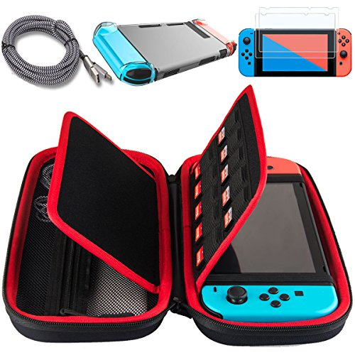 Youzizi Compatible For Nintendo Switch Case,with Dock Friendly Clear Case,2 Screen Protectors,2M/6ft Type C Charging Cable,Portable 20 Game Card Slots Travel Nintendo Switch Game Storage Case Bag
