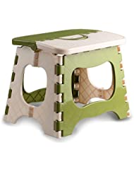 ABS Folding Children Stool , 7inch by 9inch , 8inch High , White and Green