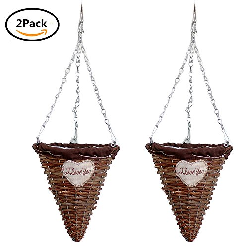 Cone Planter - Yunhigh Cone Shape Hanging Planter Rattan Hanging Basket Planter Wicker Braided Fake Flower Hanging Basket Plant Pot Holder for Indoor Outdoor Plants,Set of 2