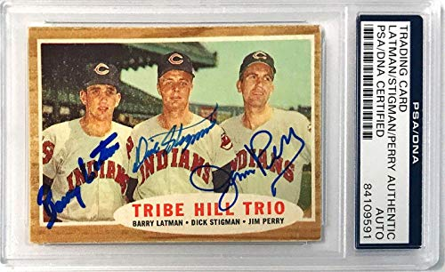 1962 Topps Barry Latman Dick Stigman Jim Perry Signed Auto Card Slabbed - PSA/DNA Certified - Baseball Slabbed Autographed Cards