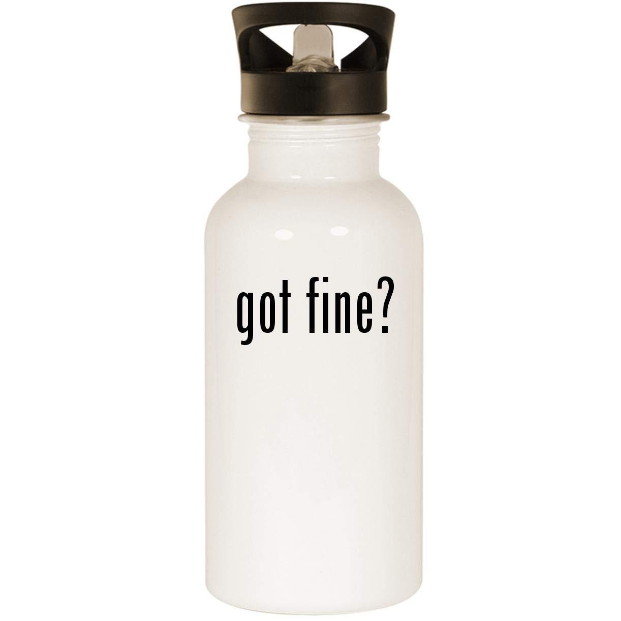 got fine? - Stainless Steel 20oz Road Ready Water Bottle, White