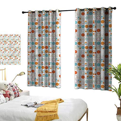 RenteriaDecor Geometric Grommet Window Treatment Set Colorful Oval Rings Blackout Drapes for Bedroom W55 x L63