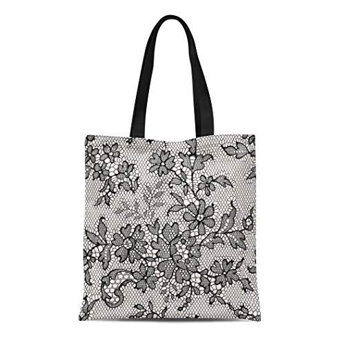 Semtomn Canvas Tote Bag Pink Pattern Black Lace Floral Flower Toile Monochrome Effect Durable Reusable Shopping Shoulder Grocery Bag