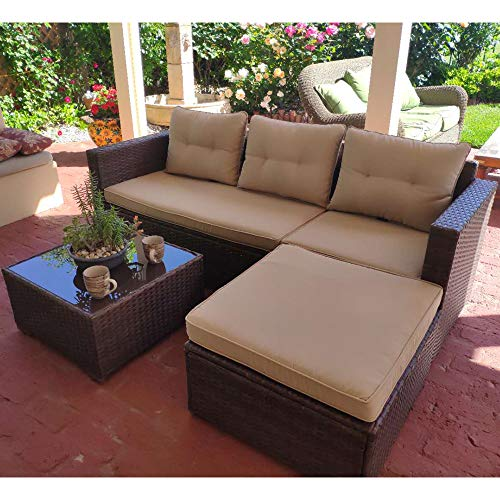 SUNSITT Outdoor Sectional Sofa 4 Piece Furniture Set Brown Wicker with Beige Seat Cushions, Ottoman & Glass Coffee Table, Patio Backyard Pool, Steel Frame