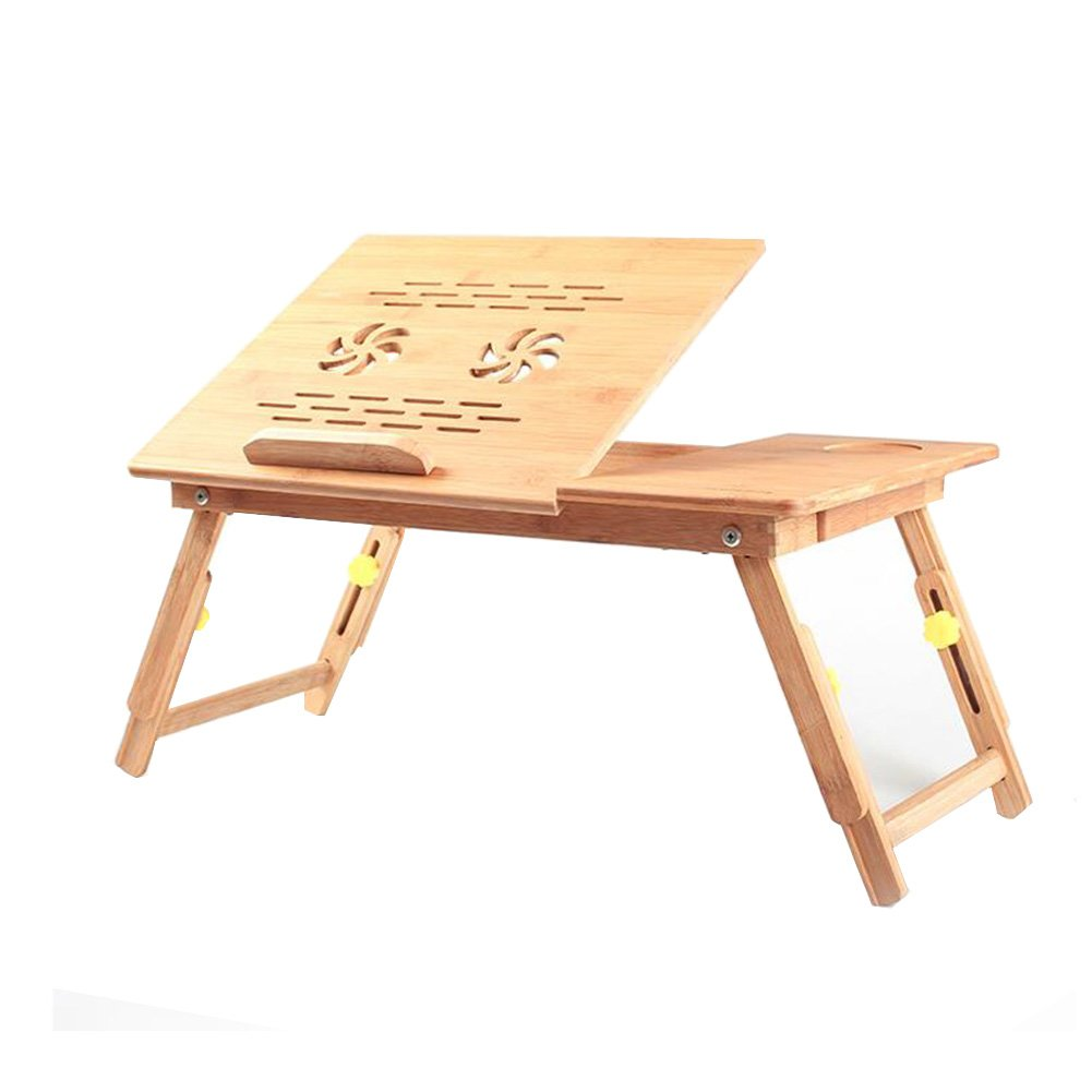 Living Room Furniture CJC Desk Table Tray 100% Bamboo Stand Foldable Bed Flower Style Design Play Games Supports Laptops Notebook (Color : T2)