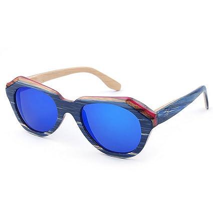 b86eeefc52 Uiophjkl Lentes Planos espejados Gafas de Sol polarizadas de Madera de la  Personalidad Color Irregular de